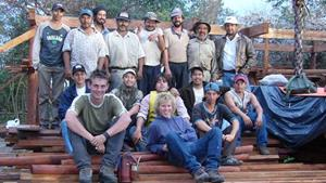 The workers building the lodge