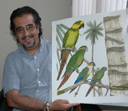 Juan Manuel Carrion with the artwork for the campagin
