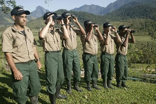 Rangers in the Brazilian nature reserve