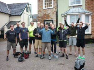 Group photograph of SCCP cycle team in WLT carpark at the end of the ride