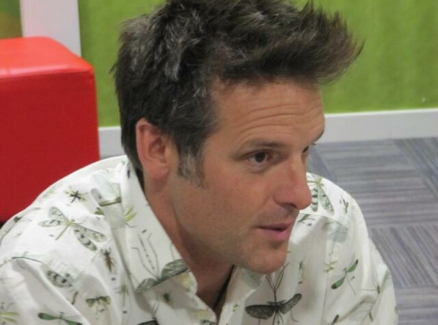 Nick Baker in the Green Room of the BBC studies in Salford.