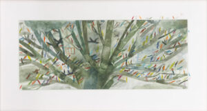 A tree filled with birds, one of Laura Carlin's illustrations from The Promise by Nicola Davies.