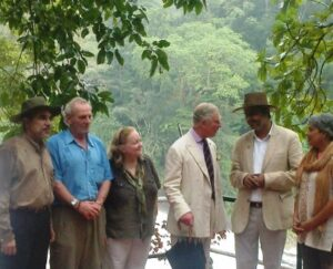 Mark Shand (in the blue shirt) with HRH Prince Charles on a recent visit to India.