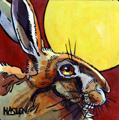 Painting of a hare in moonlight.