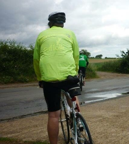 Rear view of a cyclist
