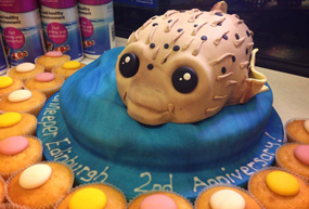 Cake in the shape of a Puffer fish.