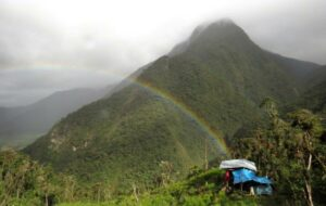 Field camp in the proposed private conservation area overlooking the Andes mountains.