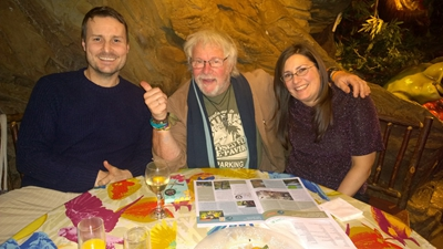 Steven Ware and his partner Jennifer with Bill Oddie.
