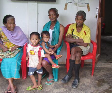Family waiting outside the clinic