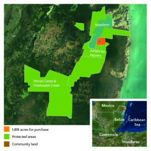 Map of 1,818 acres available to buy for £100 an acre in Belize