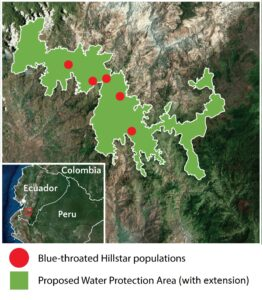 Map showing the proposed Water Protection Area in southern Ecuador