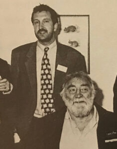 David Bellamy visiting WLT's offices in Halesworth, shown here with Mark Carwardine, another former trustee, now Council member.
