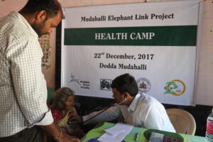 Health camp / free medical clinic held for villagers of Mudahalli